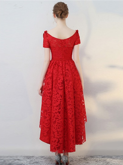 A-Line Bateau Short Sleeves Bowknot Lace Sashes Asymmetry Homecoming Dress