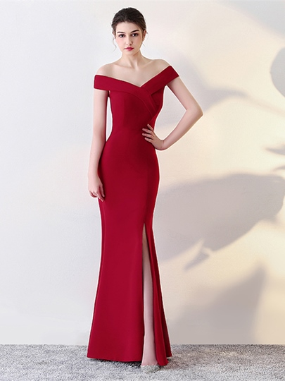 Split-Front Mermaid Off-the-Shoulder Evening Dress