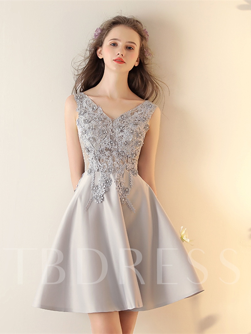 Image of A-Line Appliques Sleeveless Beading Short Homecoming Dress