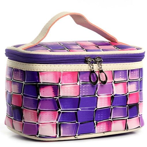 Colorful Squares Design PU Cosmetic Bag