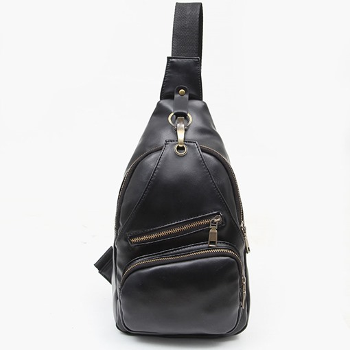 Retro Korean Style Zipper Men's Sling Bag