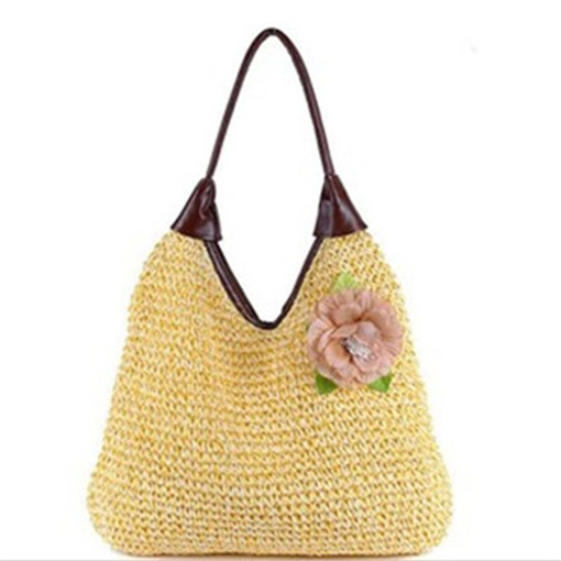 Leisure V Crocheted Floral Decoration Straw Bag