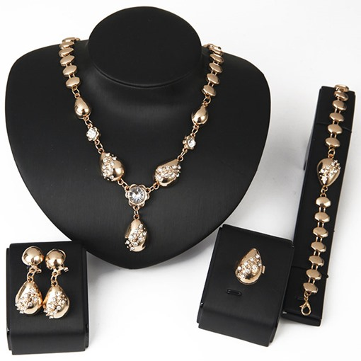 Diamante Alloy Link Chain European Jewelry Sets