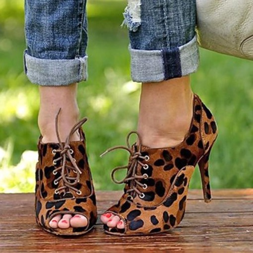 Leopard Peep Toe Stiletto Heel Pumps