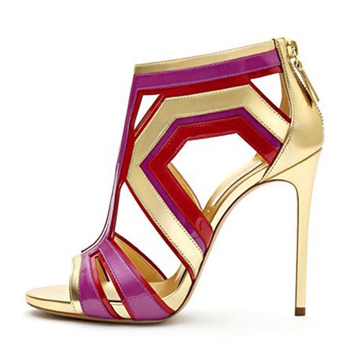 Color Block Hollow Zipper Heel Sandals