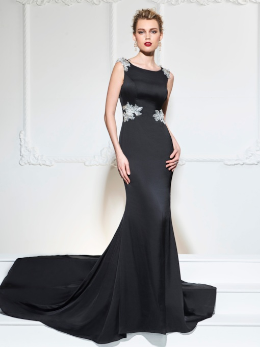 Scoop Trumpet Appliques Sequins Evening Dress