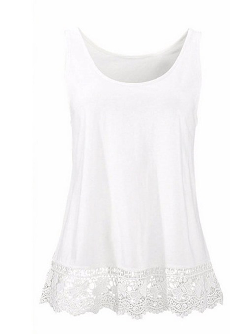 Lace Splicing Plain Women's Tank Top