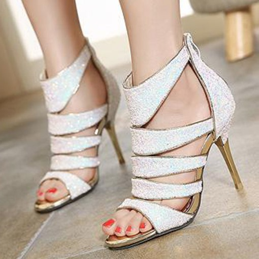 Banquet Sequins Stiletto Heel Zipper Open Toe Hollow Women's Sandals