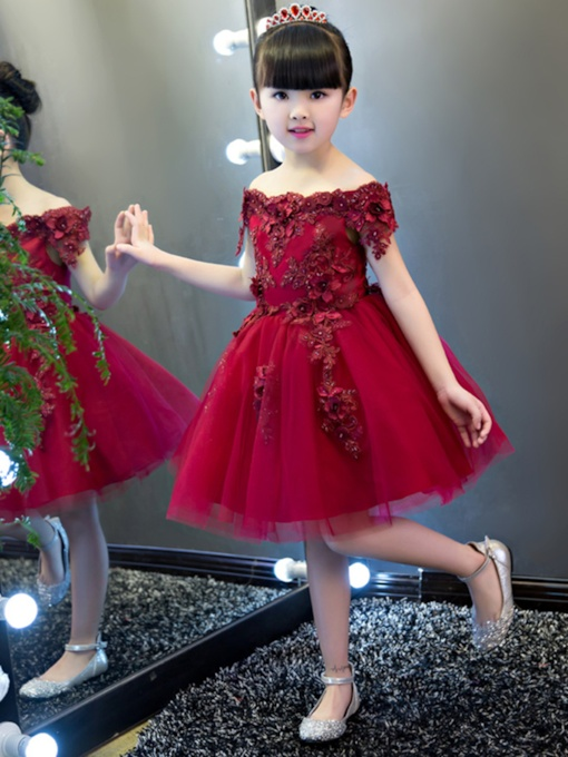 Off-The-Shoulder Short Sleeves Knee-Length Flower Girl Dress