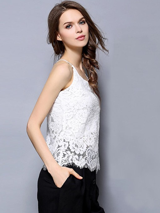 Lace Plain Halter Women's Tank Top