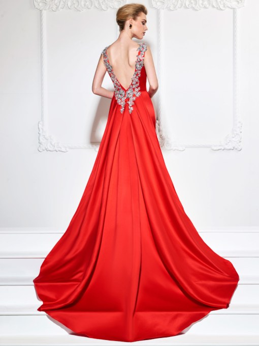 Sequins Appliques Low Back Watteau Train Evening Dress