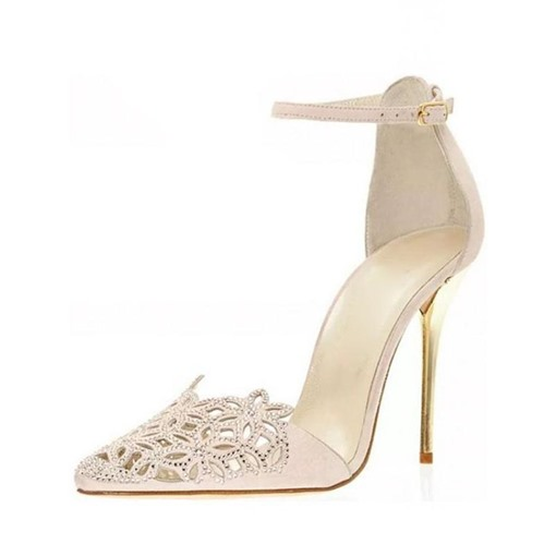 Hollow Rhinestone Line-Style Buckle Suede Pointed Toe Stiletto Heel Pumps