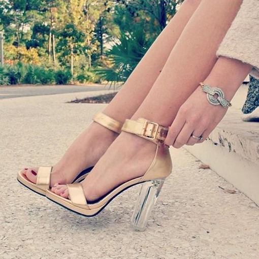 Line-Style Buckle Transparent Chunky Heel Sandals