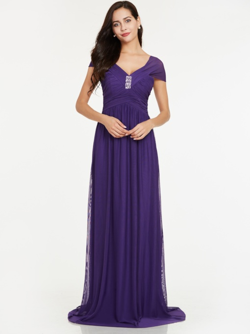 A-Line V-Neck Rhinestone Ruched Evening Dress