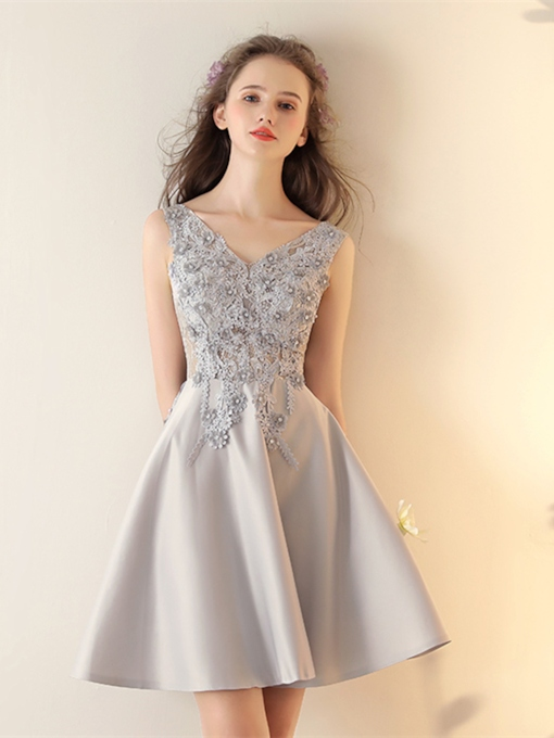 A-Line Appliques Sleeveless Beading Short Homecoming Dress