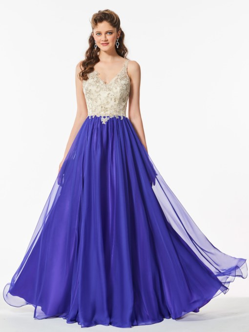 V-Neck Appliques Backless Floor-Length Prom Dress