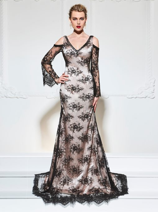 Mermaid V-Neck Lace Long Sleeves Evening Dress