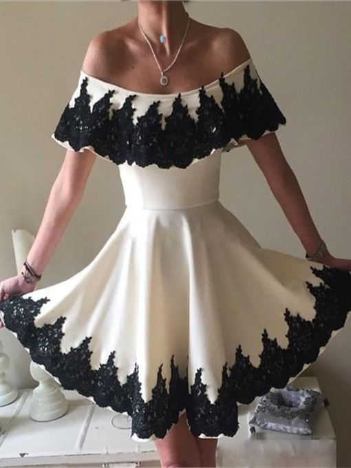 Appliques Beadings Lace Off-the-Shoulder Homecoming Dress