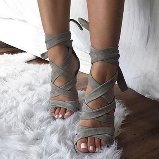 Open Toe Lace-Up Strappy Stiletto Heel Women's Sandals