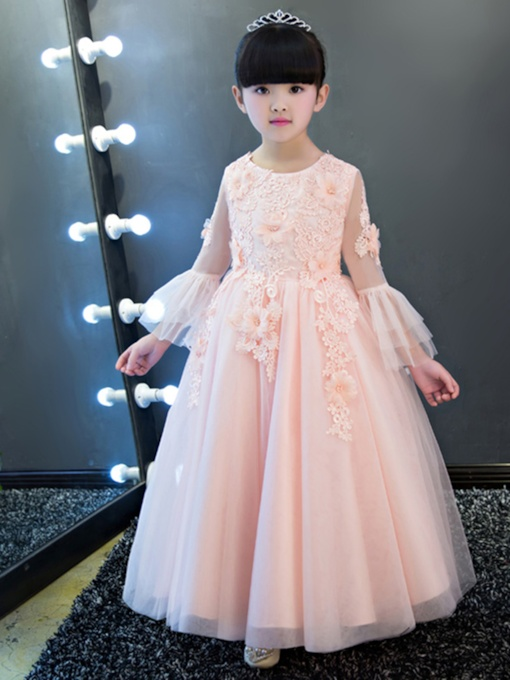 Long Sleeves Appliques Flower Girl Dress
