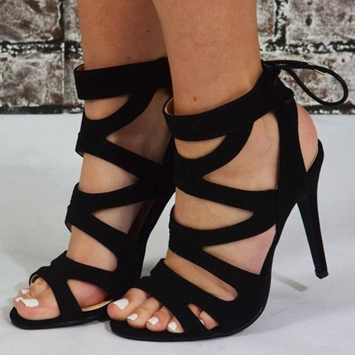 Hollow Lace-Up Open Toe Sandals