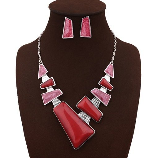 Personalized Geometric Rhinestone Two Piece Jewelry Sets