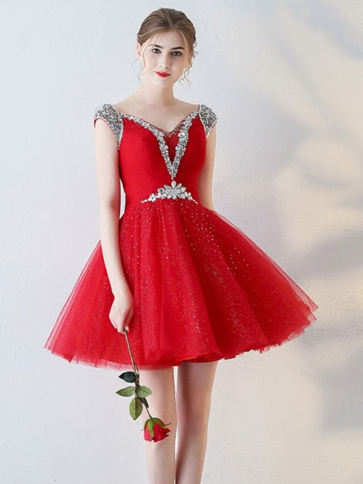 A-Line V-Neck Beading Pleats Homecoming Dress