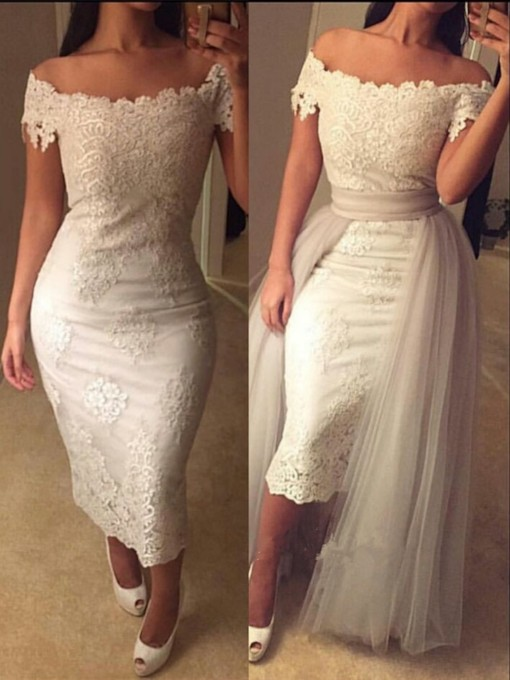 Sheath Off-the-Shoulder Cap Sleeves Appliques Lace Tea-Length Evening Dress