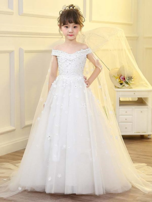 Off-The-Shoulder Appliques Court Train Flower Girl Dress