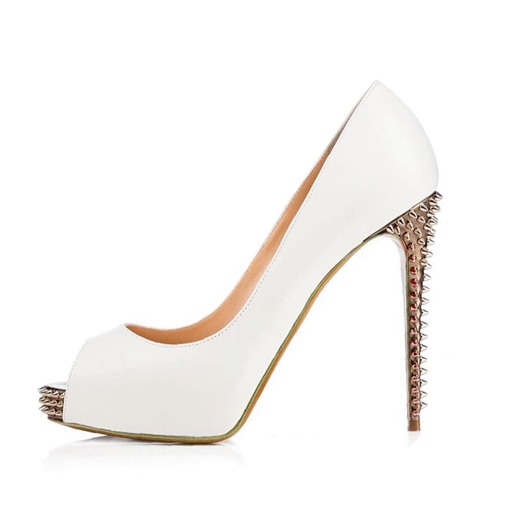 Peep Toe Rivet Platform Stiletto Heel Pumps