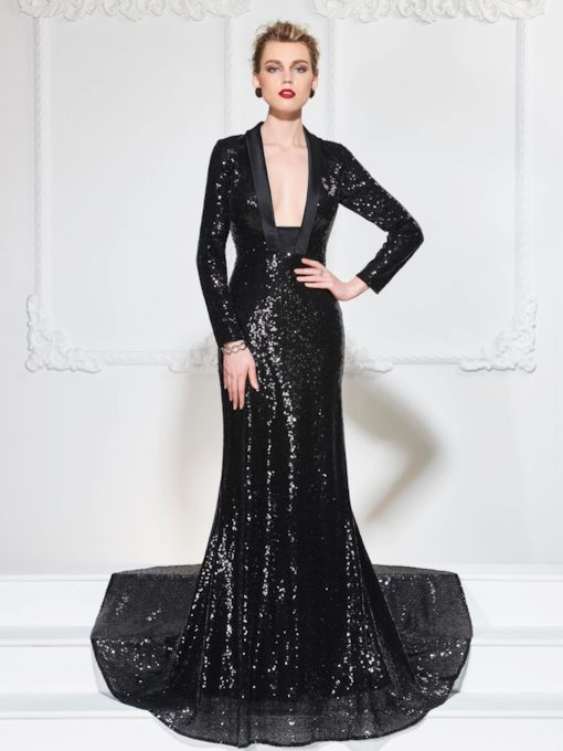 Mermaid Square Neck Long Sleeves Sequins Court Train Evening Dress