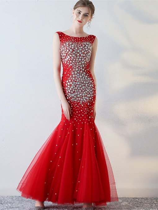 Bateau Beaded Rhinestone Trumpet Floor-Length Evening Dress