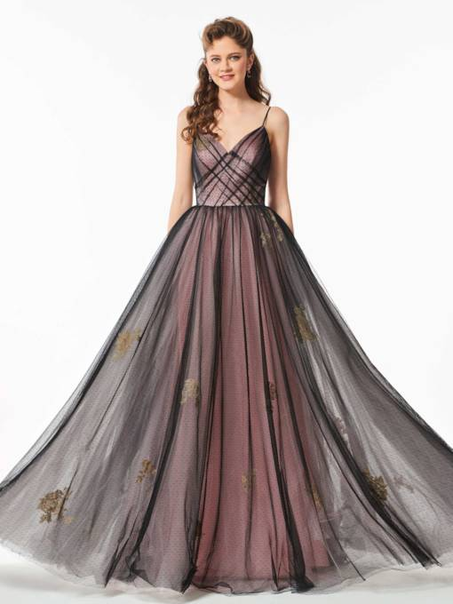 Spaghetti Straps Appliques Pleats Floor-Length Prom Dress