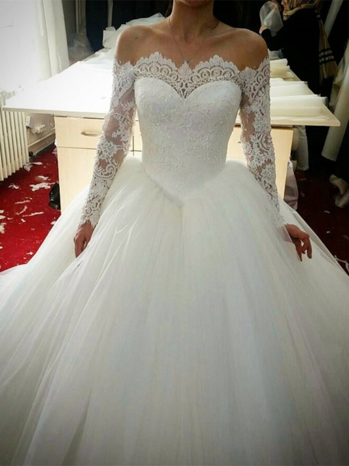 Off the Shoulder Bodice Lace Wedding Dress with Long Sleeve