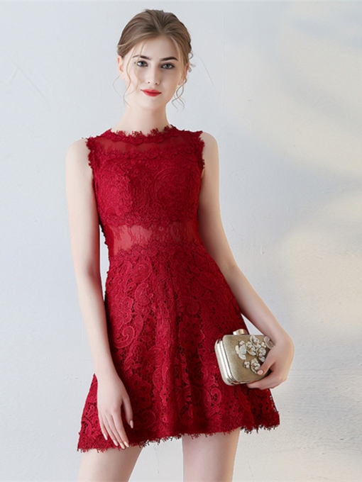 Jewel Sheath Lace Short Homecoming Dress