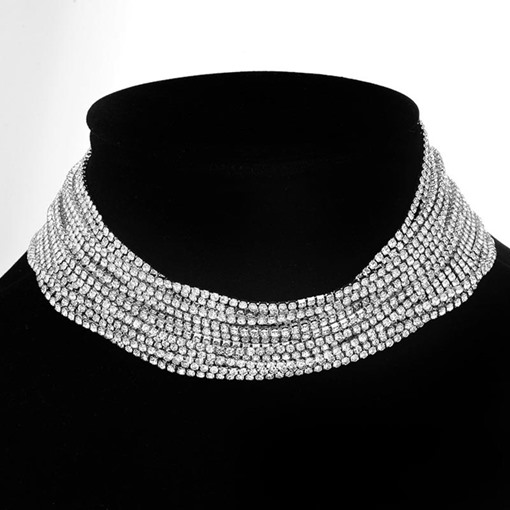 Full Drill Multilayers Diamante Alloy Necklace