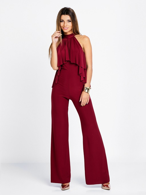 Red Sleeveless Wide Leg Women's Jumpsuits