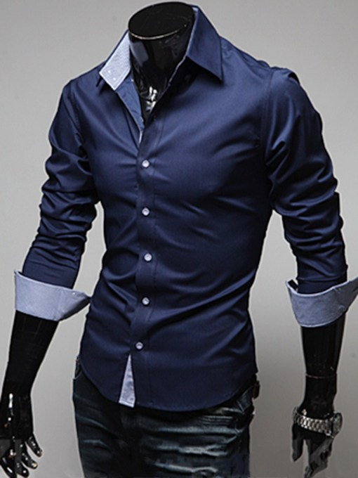 Plain Casual Lapel Slim Men's Shirt