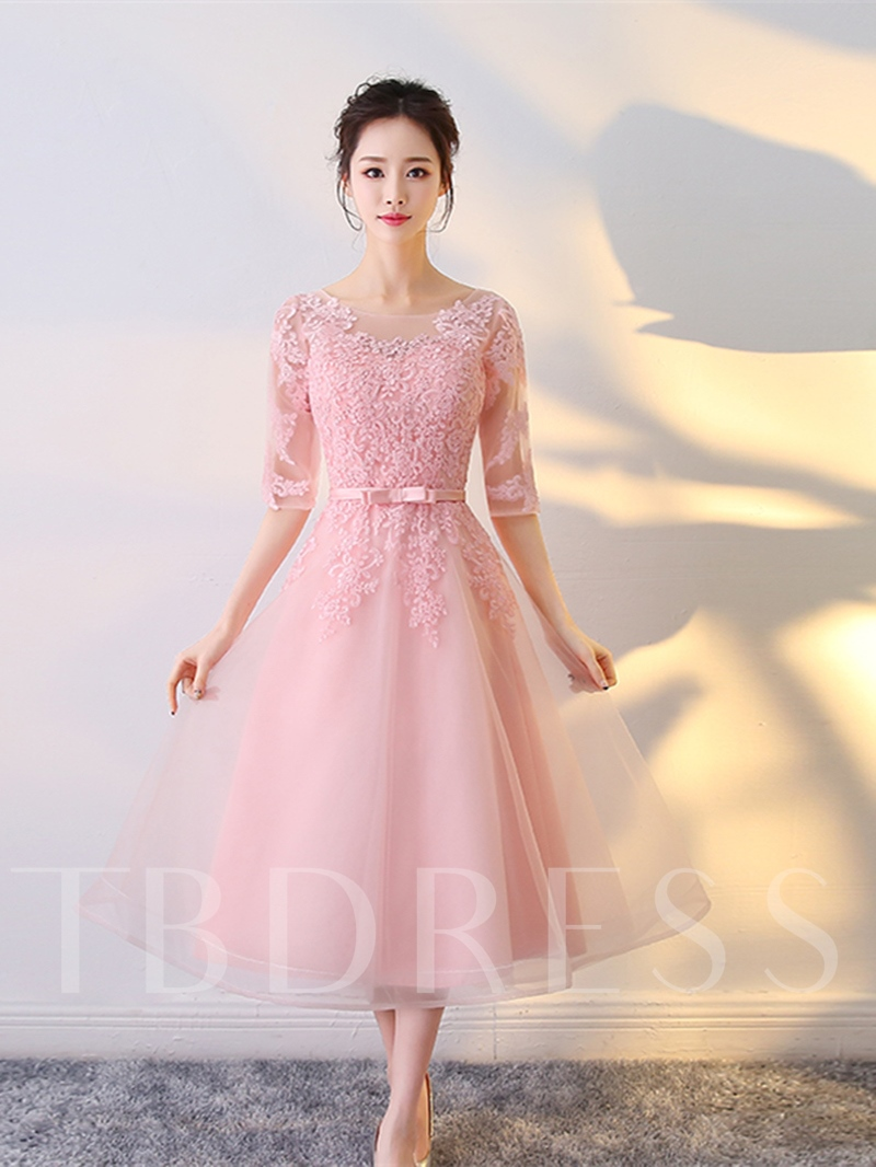 Image of A-Line Appliques Scoop Bowknot Sashes Tea-Length Prom Dress