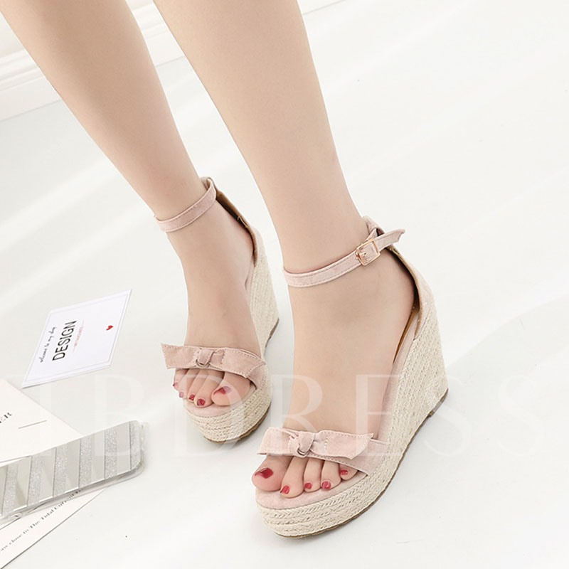 Image of Bowtie Appliques Wedge Heels Line-Style Buckle Womens Sandals