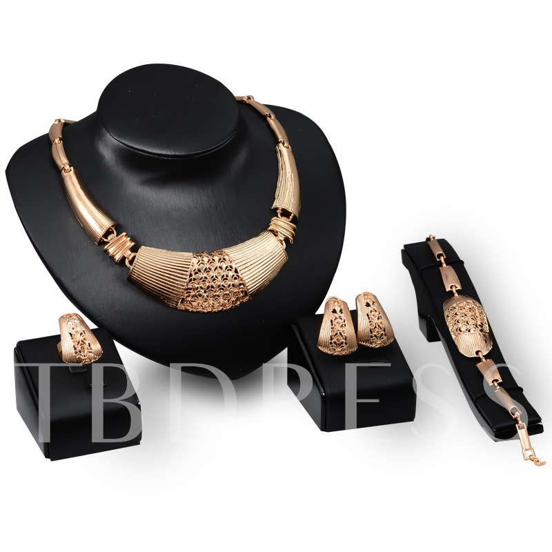 Unique Hollow Out Diamante Four Piece Jewelry Sets