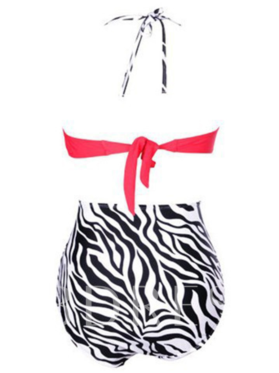 Vintage Zebra Stripe High-Waist Tankini Set