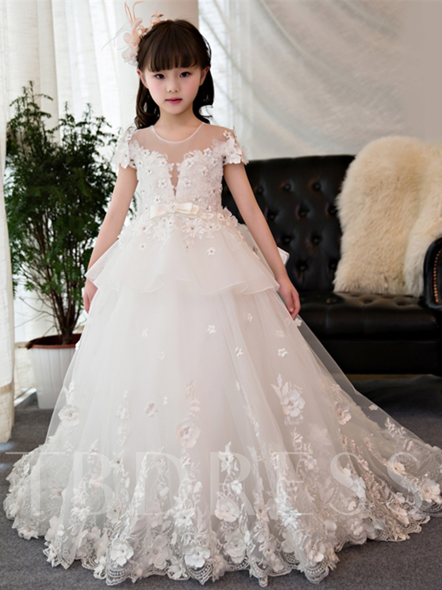 Short Sleeves Beading Ball Gown Flower Girl Dress