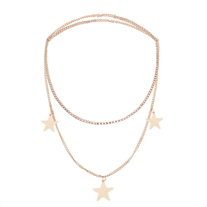 Alloy Star Link Chain Multilayer Choker Necklace
