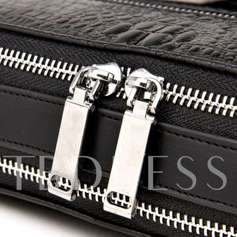 Fashion Croco-Embossed Men's Handbag