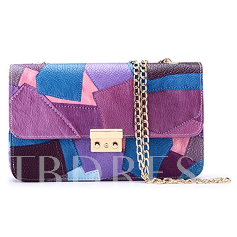Personality Stitching Color Block Cross Body Bag