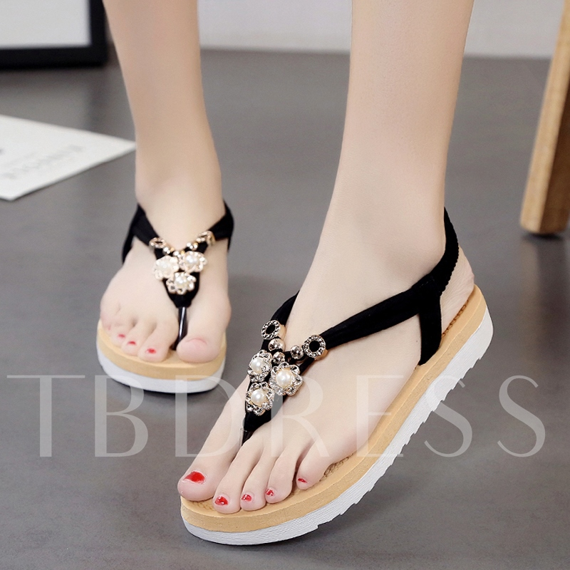 Wedges Thong Beads Elastic Band Platform Women's Sandals