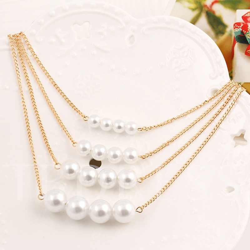 Multilayer Pearl Alloy Choker Necklace
