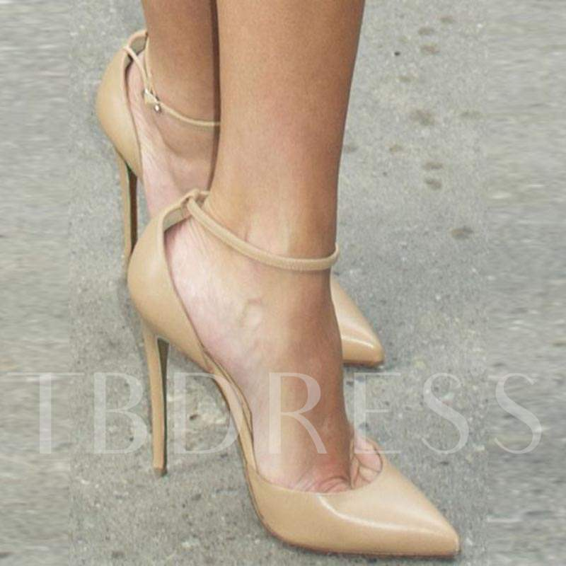 Line-Style Buckle Pointed Toe Patent Leather Plain Pumps