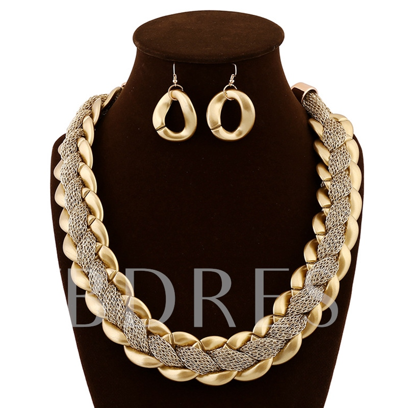 Gold Acrylic Snake Chain Alloy Jewelry Sets